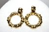 **MBA #88-019  Oreno Paris Gold Plated Fancy Hinged Pierced Earrings