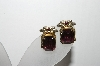 **MBA #88-527  Coro Gold Tone Purple Glass Screw Back Earrings