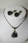 "**MBA #88-328  Antiqued Silver Tone ""Grey"" Thernoplastic  Necklace & Earring Set"