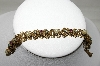 **MBA #88-072   Gold Plated Purple Rhinestone & Faux Pearl Bracelet
