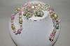 **MBA #88-119   Gold Tone Pastel Acrylic Bead Necklace & Matching Clip On Earrings