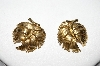 Trifari Gold Tone Leaf Style Clip On Earring