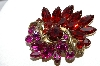 +MBA #90-087  Weiss Gold Tone Red & Dark Pink Rhinestone Brooch