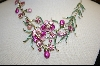 Two Toned Pink Enamel and Crystal Floral Necklace W/ Matching Clip On Earrings