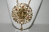 "**MBA #87-127   Very Large Gold Plated ""Lion Medallion"" Necklace With Attached Chain"
