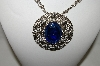 **MBA #87-133   Large Silver Tone Blue Acrylic Medallion Necklace With Attached Chain