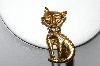 "+MBA #87-019   Gold Plated ""Cat"" Pin With Rhinestones"