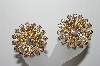 **MBA #90-095   Vintage Gold Tone AB Rhinestone Clip On Earrings