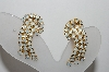 **MBA #87-067   Gold Tone Opal Colored Rhinestone Clip On Earrings