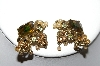 Gold Tone Rhinestone & Faux Pearl Clip On Earrings