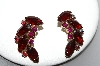 **MBA #87-057   Gold Tone Red & AB Crystal Rhinestone Clip On Earrings