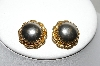 "+MBA #87-082  ""Gold Tone Silver Stone Clip On Earrings"