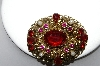 +MBA #87-039   Made In West Germany Gold Tone Red Rhinestone & Faux Pearl Brooch