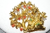 "MBA #92-068  ""ART Goldtone Rhinestone & Glass Bead Oriental Brooch"""
