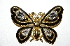 "**MBA #92-094  ""Trifari Goldtone & Black Enamel Butterfly Brooch"""