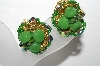 "MBA #92-014 ""Vintage Green Glass Clip On Earrings"""