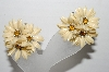 "MBA #92-040 ""Vintage Cream Colored Plastic Flower Clip On Earrings"""
