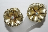 "MBA #92-036 ""Goldtone AB Rhinestone Center Flower Clip On Earrings"""