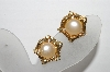 "MBA #92-030 ""Vintage Goldtone Faux Pearl & Rhinestone Clip/Screw Back Combo Earrings"""