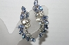 "MBA #92-033 ""Vintage Silvertone Blue & Clear Crystal Rhinestone Clip On Earrings"""