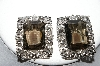 "MBA #92-026 ""Sarah Coventry Large Silvertone Smokey Glass Clip On Earrings"""
