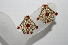 "MBA #92-008 ""Vintage Goldtone Red Stone Clip On Earrings"""