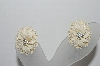 "MBA #95-013 ""Vintage White Plastic Floral Screw Back Earrings"""