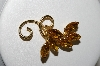 "+MBA #95-006 ""Vintage Goldtone Citrine Colored Fancy Rhinestone Pin"""