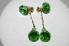 "MBA #95-045 ""Lewis Segal Green Rhinestone Goldtone Clip On Dangle Earrings"""