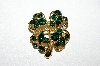 "MBA #95-025 ""JC Goldtone Green Rhinestone 4 Leaf Clover Pin"""