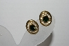 "MBA #95-021 ""Vintage Goldtone Green & Clear Crystal Oval Clip On Earrings"""