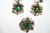 "MBA #95-088 ""Vintage 3 Piece Goldtone Green & Clear Crystal Pin & Screwback Earring Set"""