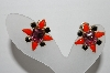 "**  MBA #95-026 ""Vintage Goldtone Pink, Orange & Black Glass Stone Clip On Earrings"""