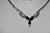 "MBA #97-023 ""Vintage Silvertone Black & Clear Crystal Rhinestone Necklace"""