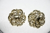 "+MBA #97-036  ""Vintage Goldtone Floral Clip On Earrings"""