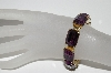 "MBA #97-033 ""Zentall Goldtone Large Emerald Cut Purple Glass Bracelet"""