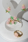 "**MBA  #97-118 "" JJ & Avon Pink Rose Pin, Earrings & Ring Set"""