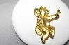 "MBA #97-135 ""JJ Goldtone Cat Pin With Fish Charm"""