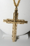 "MBA #97-103 ""Vintage Goldtone Fancy Cross With 24"" Chain"""
