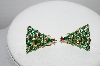 "+MBA #97-002 ""Vintage Goldtone Enameled Christmas Tree Clip On Earrings"""