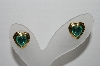 "MBA #97-011 ""Vintage Goldtone Green Acrylic  Heart Shaped Pierced Earrings"