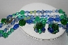 "MBA #96-101 ""Made In West Germany Blue & Green Glass Bead Necklace & Earring Set"""