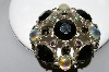 "+MBA #96-288 ""Vintage Silvertone Multi  Colored Glass & Acrylic Stone Large Brooch"""