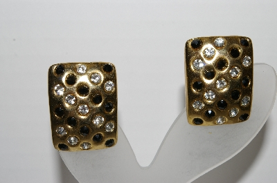 "MBA #96-006 ""Vintage Goldtone Clear & Black Rhinestone Clip On Earrings"""