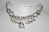 "MBA #96-155 ""Vintage Silvertone White Milk Glass & Rhinestone Necklace"""