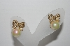 "MBA #96-081 ""Vintage Goldtone AB Faux Pearl & Rhinestone Bow Pierced Earrings"""
