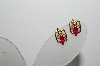 "+MBA #96-190 ""Vintage Gold Plated Red Stone Clip On Earrings"""