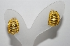"+MBA #96-041 ""Vintage Goldtone Chubby 1/2 Hoop Pierced Earrings"""
