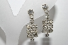 "MBA #96-015  ""Vintage Silvertone Clear Crystal Rhinestone Screw Back Earrings"""