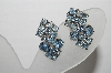 "MBA #96-012  ""Vintage Silvertone Blue Rhinestone Clip On Earrings"""